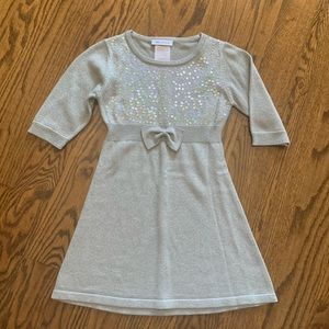 Silver Knit Party Dress, size 5